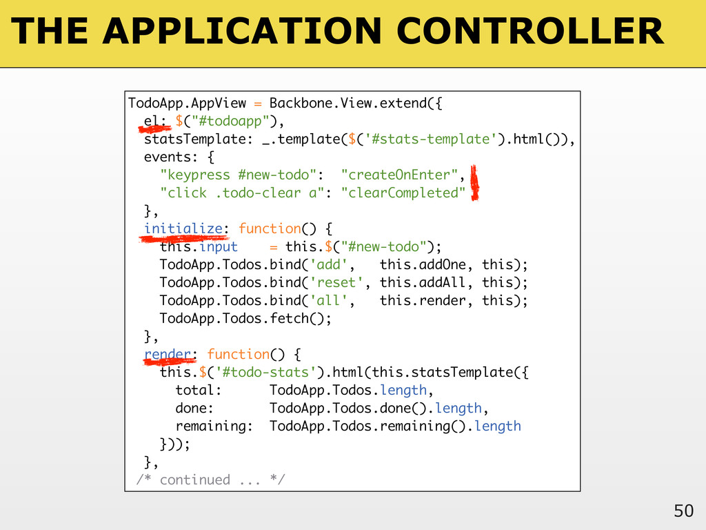 THE APPLICATION CONTROLLER 50 TodoApp.AppView =...