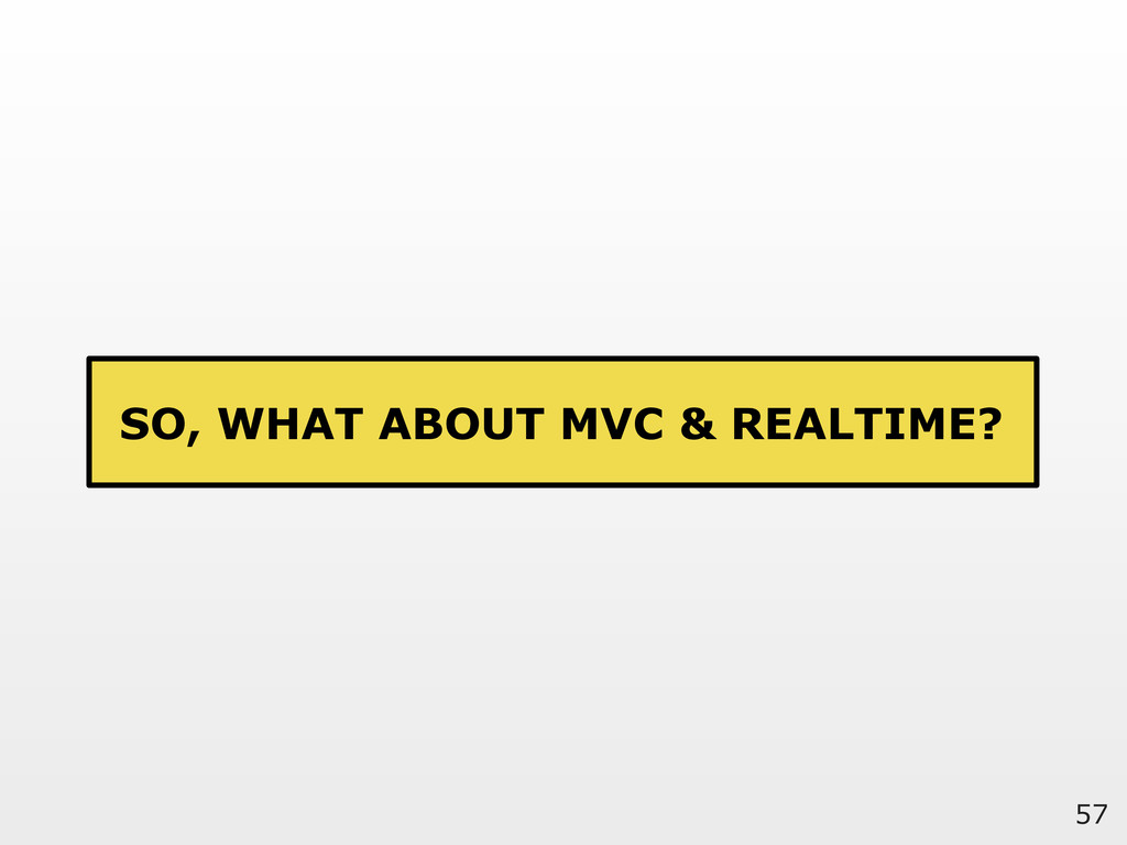 57 SO, WHAT ABOUT MVC & REALTIME?