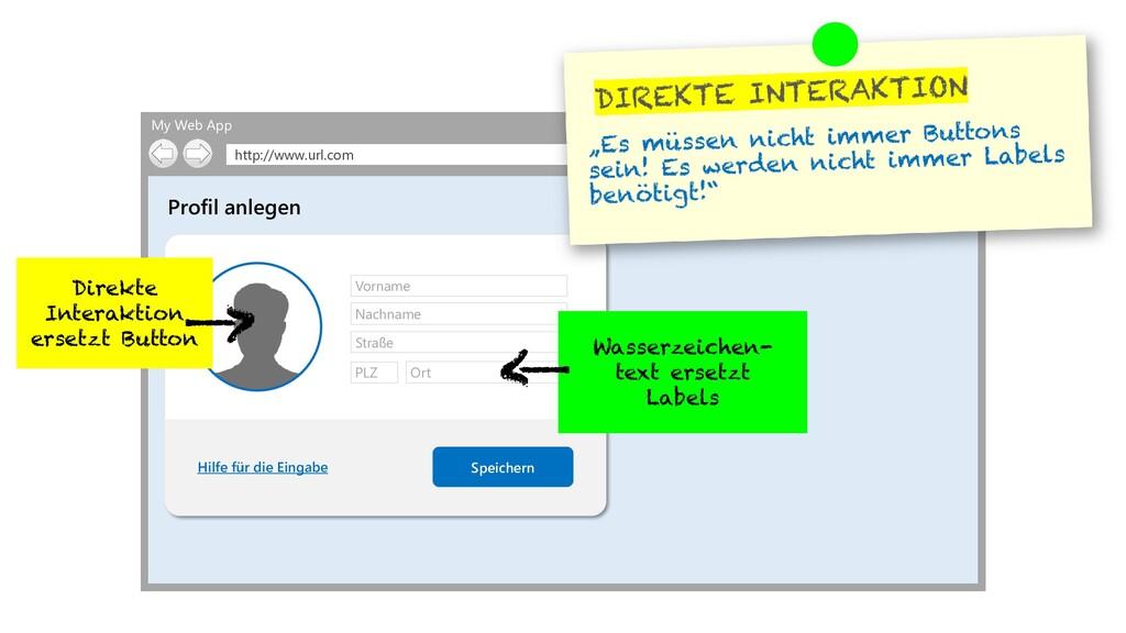 My Web App http://www.url.com Profil anlegen Sp...