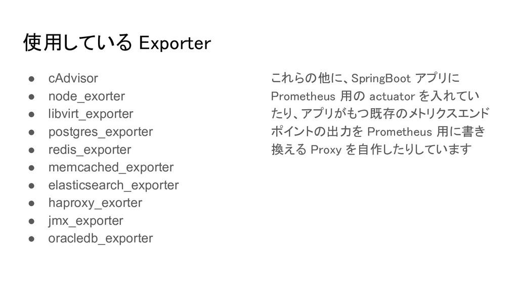 使用している Exporter ● cAdvisor ● node_exorter ● li...