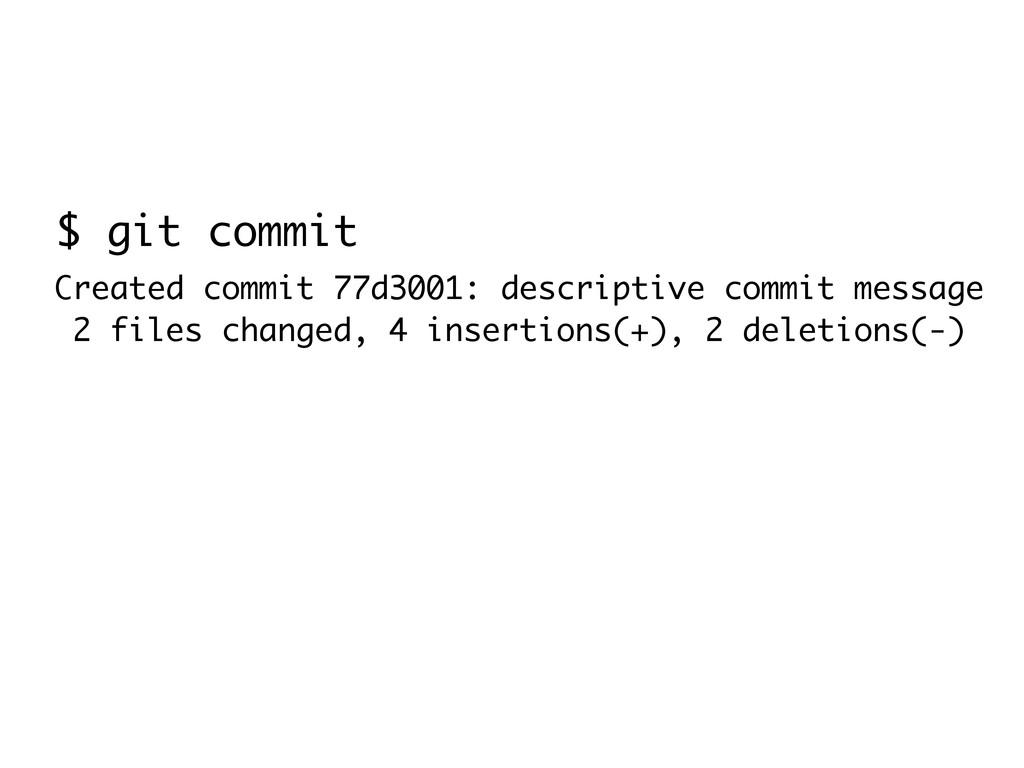 $ git commit Created commit 77d3001: descriptiv...