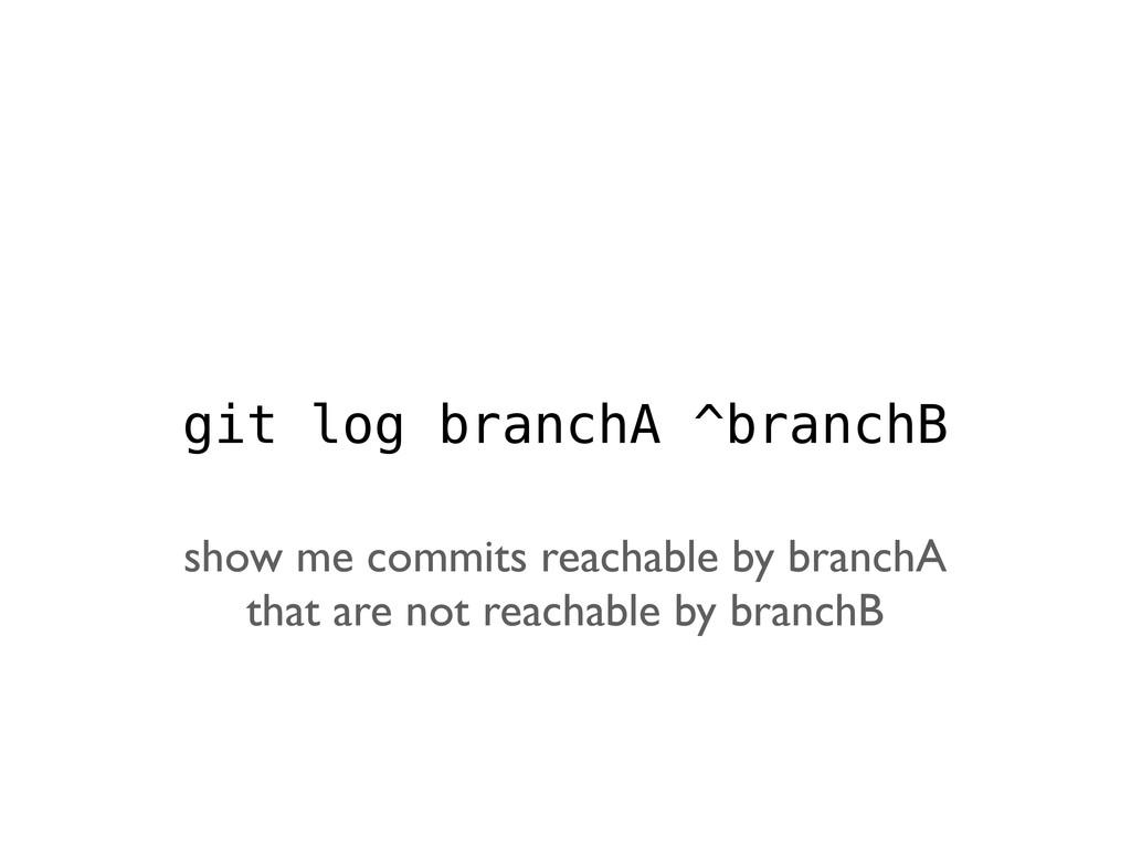 git log branchA ^branchB show me commits reacha...