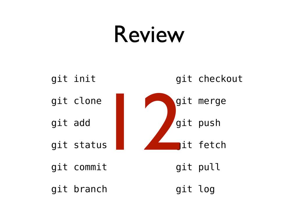 Review git init git clone git add git status gi...
