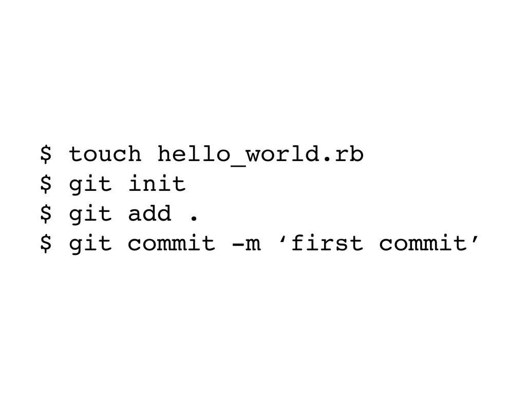 $ touch hello_world.rb $ git init $ git add . $...