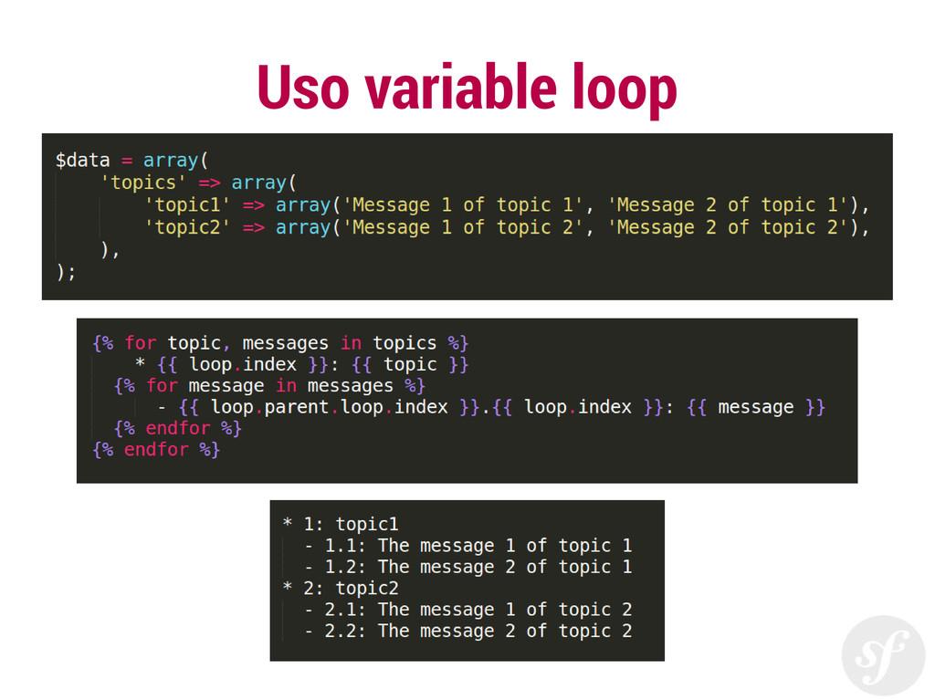 Uso variable loop