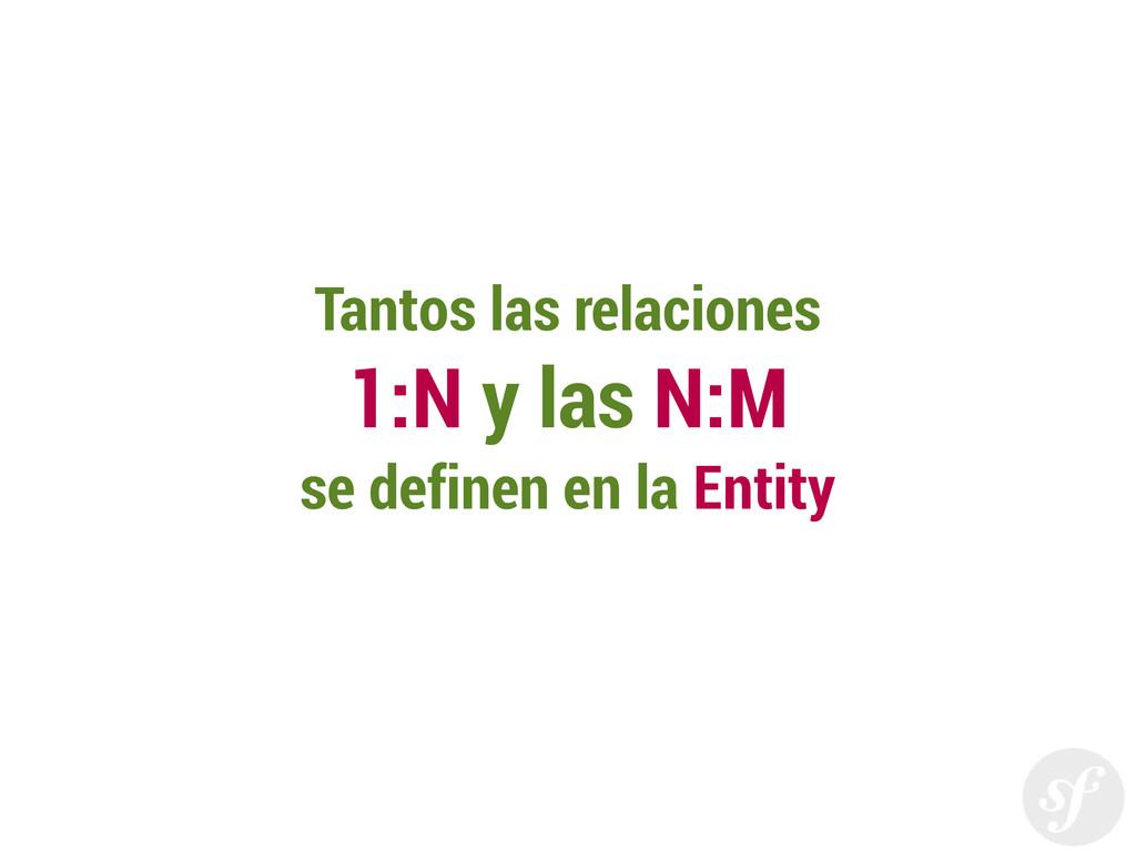 Tantos las relaciones 1:N y las N:M se definen ...