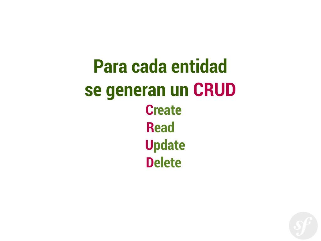 Para cada entidad se generan un CRUD Create Rea...