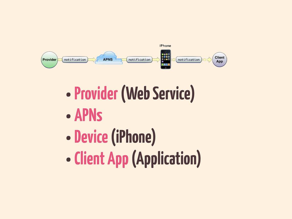 •Provider (Web Service) •APNs •Device (iPhone) ...