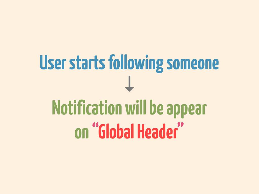 User starts following someone ↓ Notification wi...