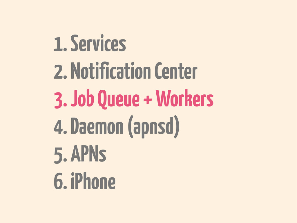 1. Services 2. Notification Center 3. Job Queue...