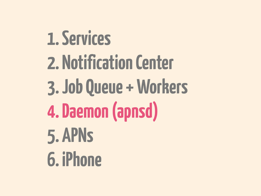 1. Services 2. Notification Center 3. Job Queue...