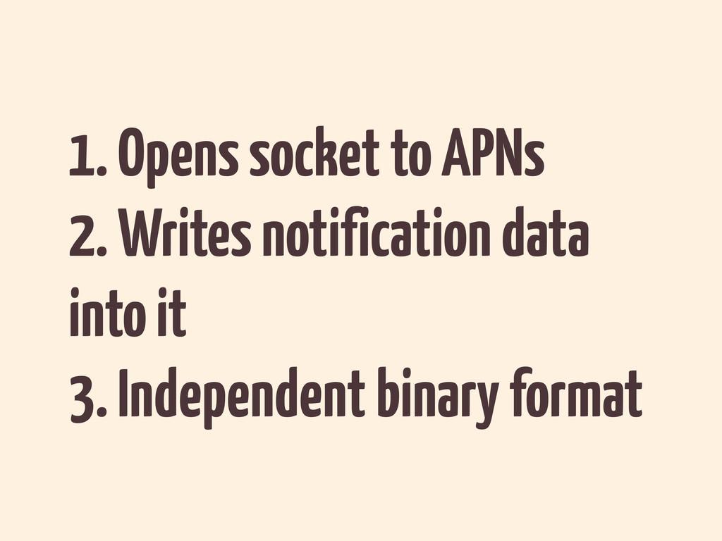 1. Opens socket to APNs 2. Writes notification ...