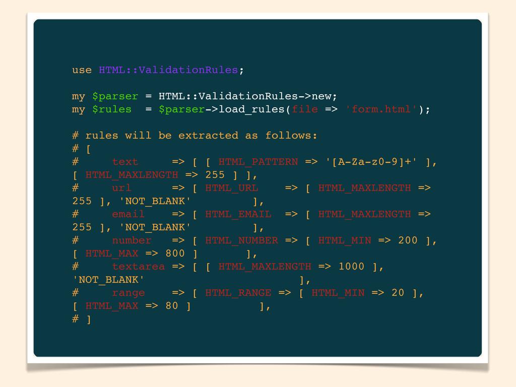use HTML::ValidationRules; my $parser = HTML::V...