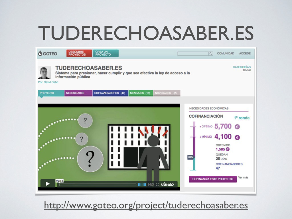 TUDERECHOASABER.ES http://www.goteo.org/project...