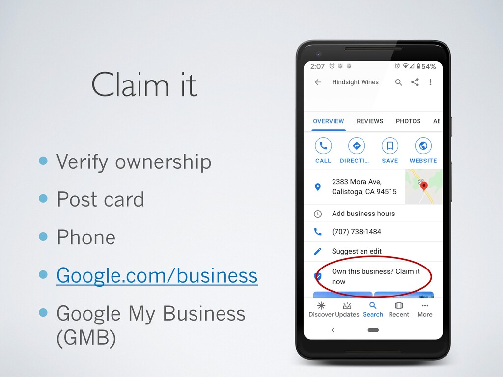 Claim it — Verify ownership — Post card — Phone...