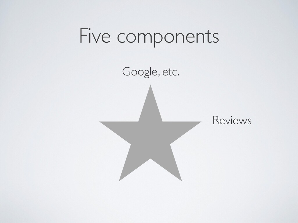 Five components Google, etc. Reviews
