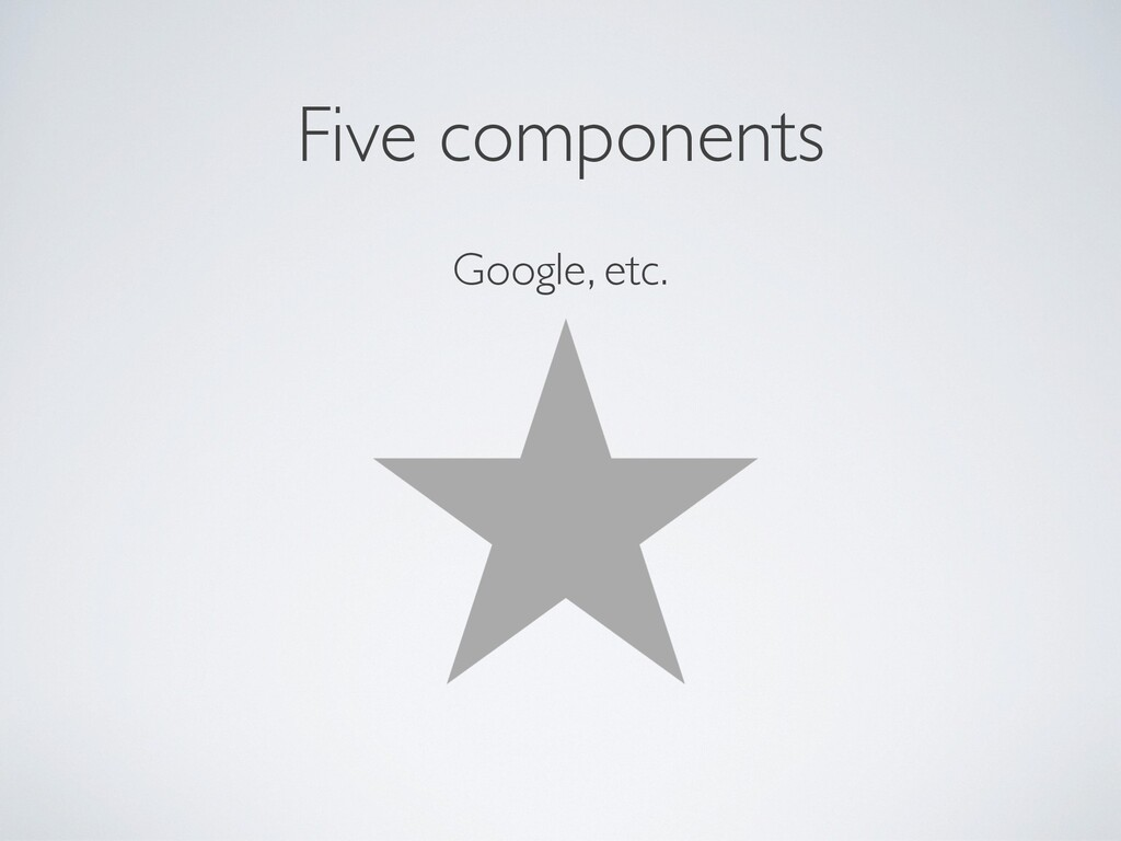 Five components Google, etc.