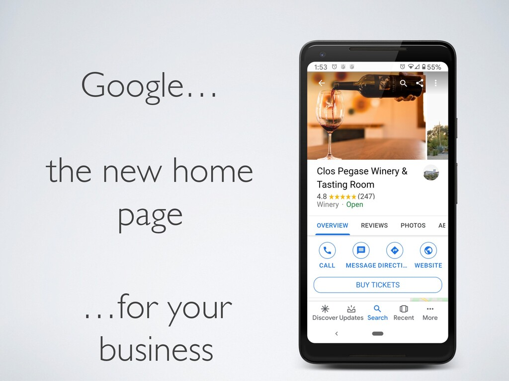 …for your business Google… the new home page