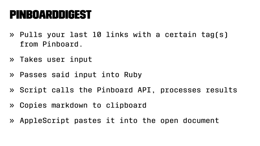 PinboardDigest » Pulls your last 10 links with ...