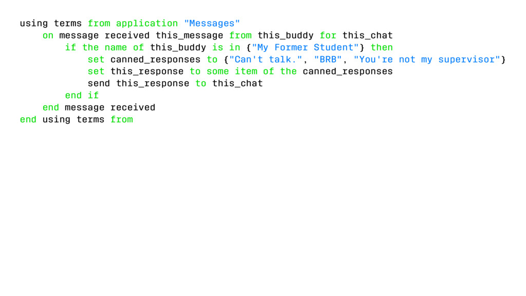 "using terms from application ""Messages"" on mess..."