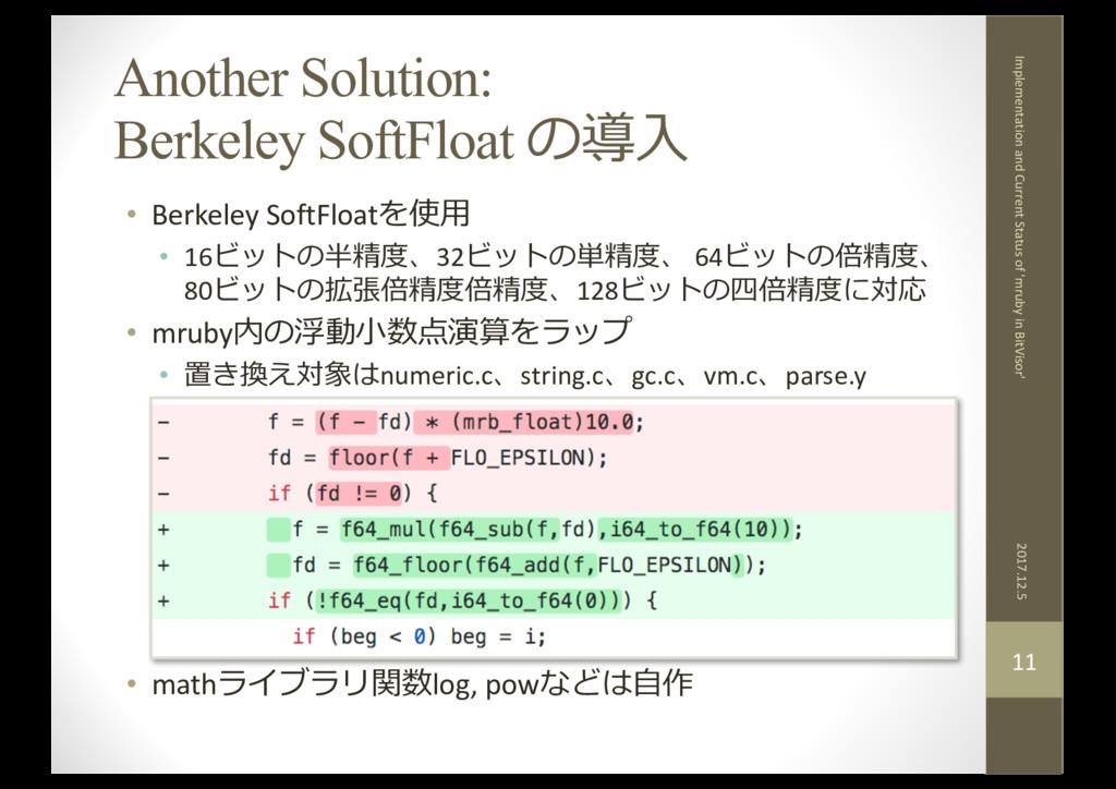Another Solution: Berkeley SoftFloat の導⼊ • Berk...