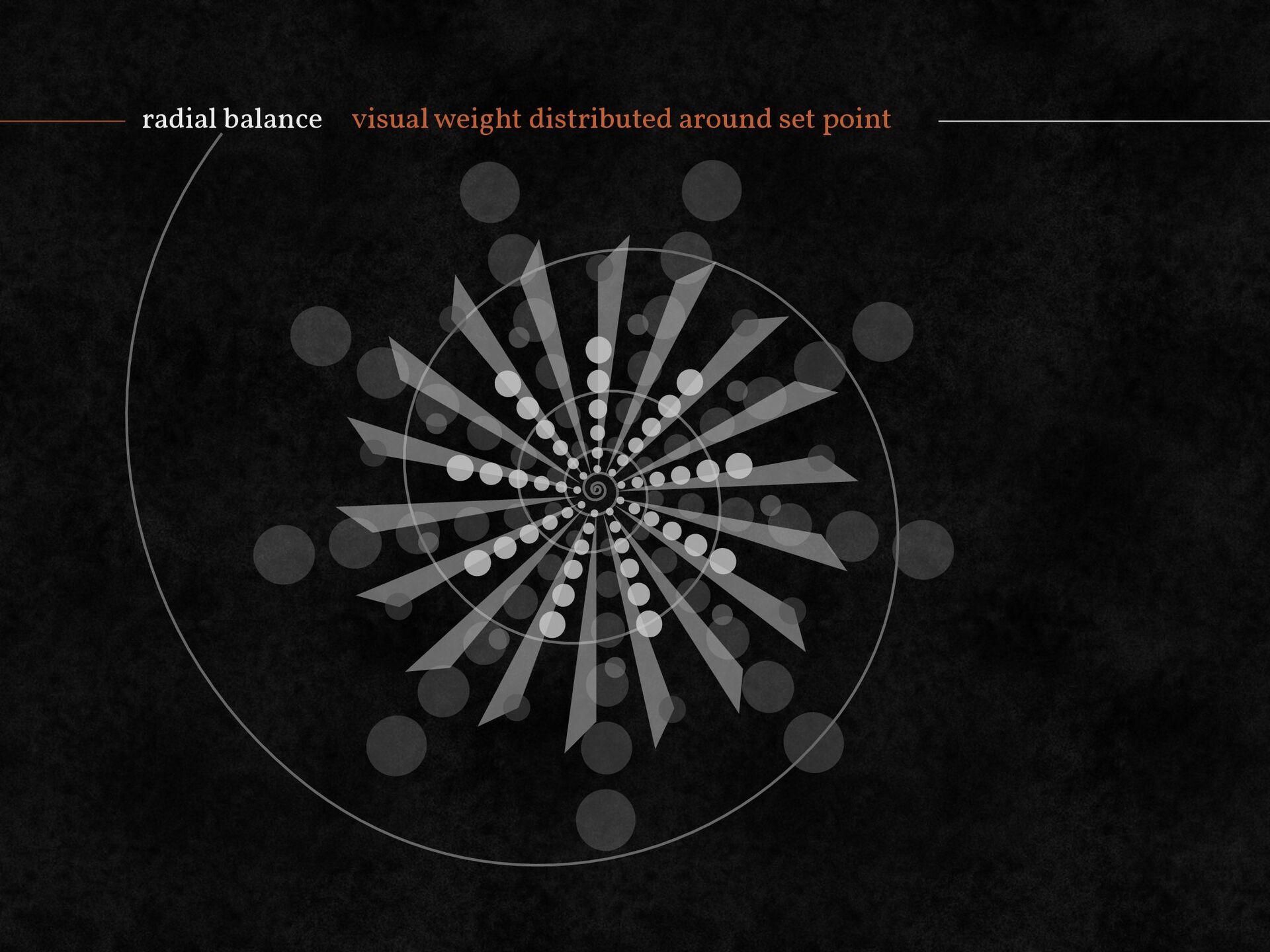 radial balance visual weight distributed around...