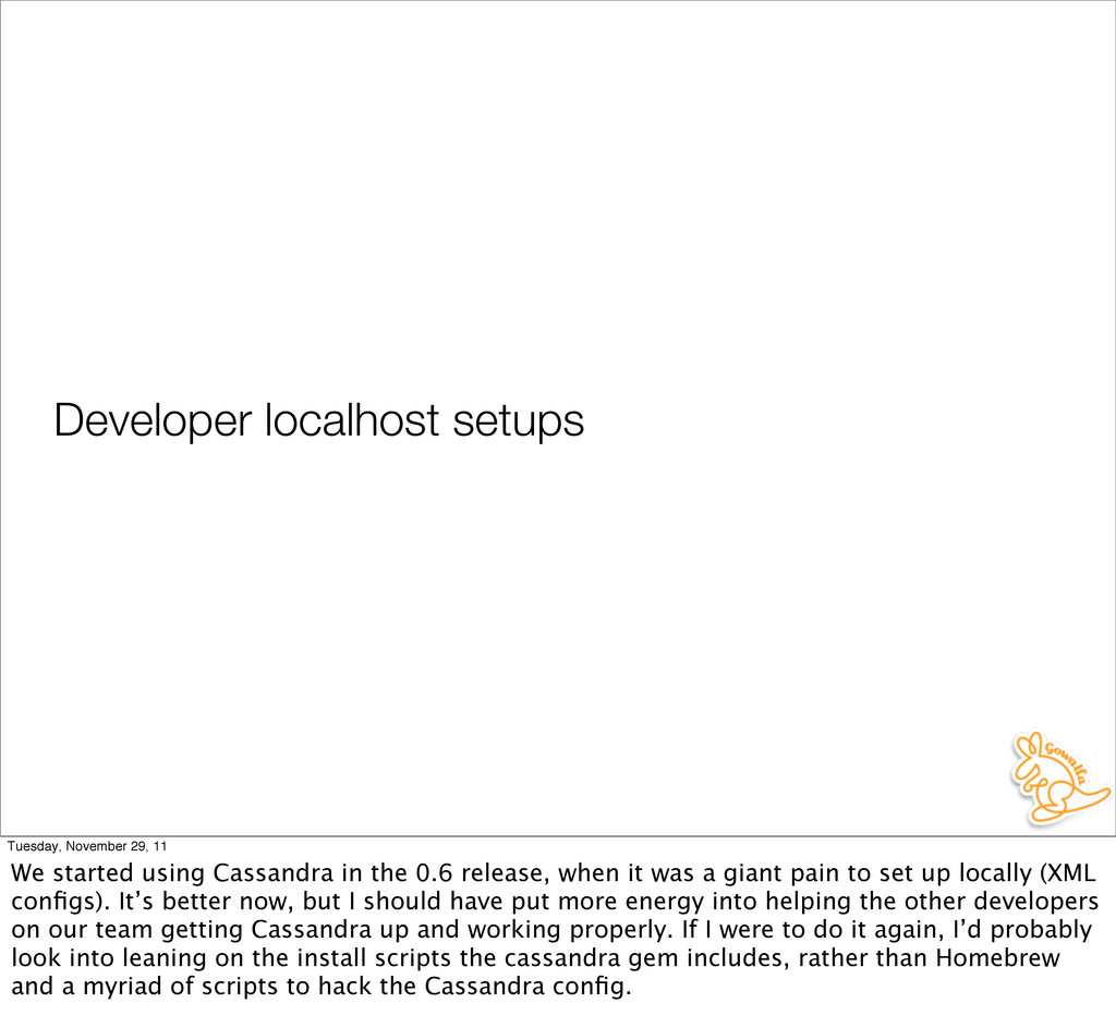 Developer localhost setups Tuesday, November 29...