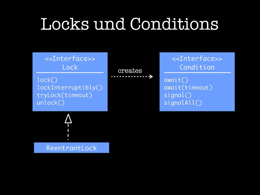 Locks und Conditions <<Interface>> Lock lock() ...