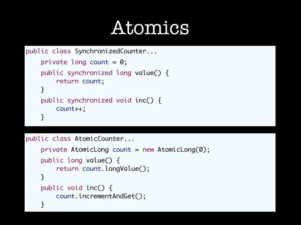 Atomics public class SynchronizedCounter... pri...