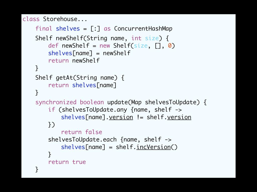class Storehouse... final shelves = [:] as Conc...