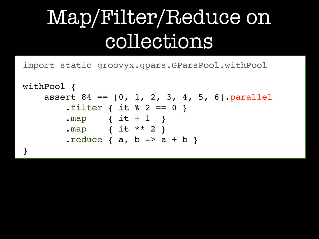 Map/Filter/Reduce on collections import static ...