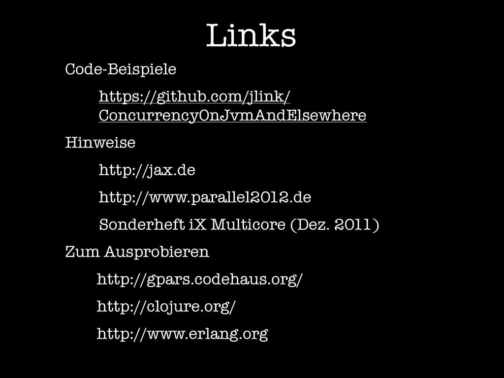 Links Code-Beispiele https://github.com/jlink/ ...