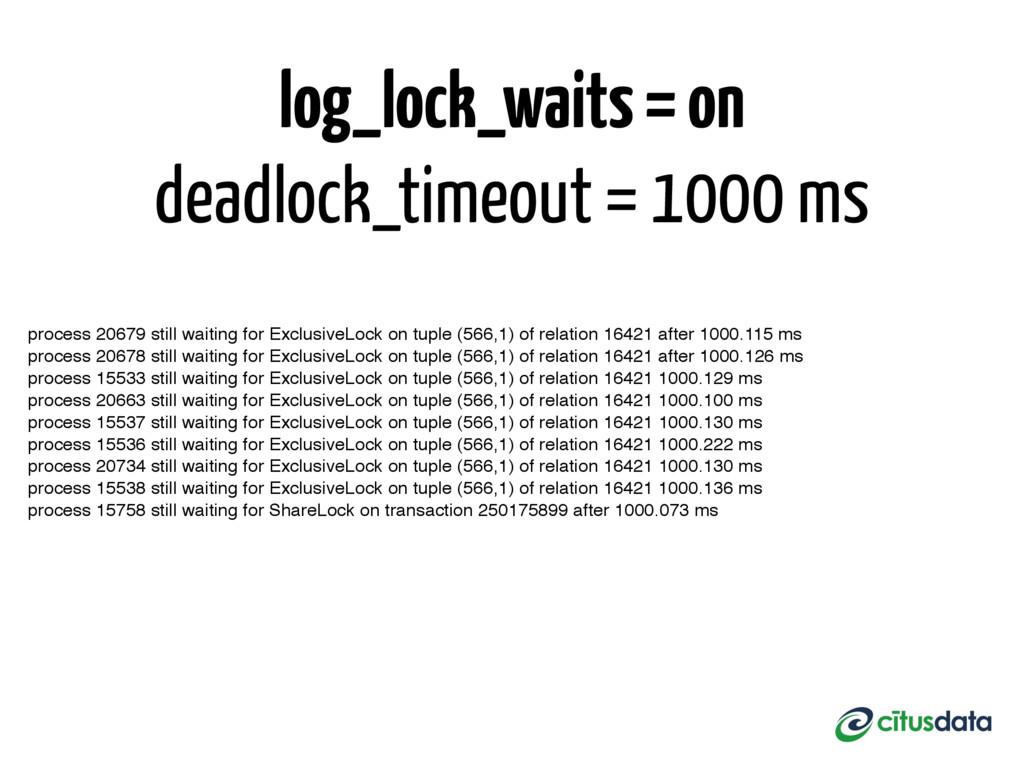 log_lock_waits = on deadlock_timeout = 1000 ms ...