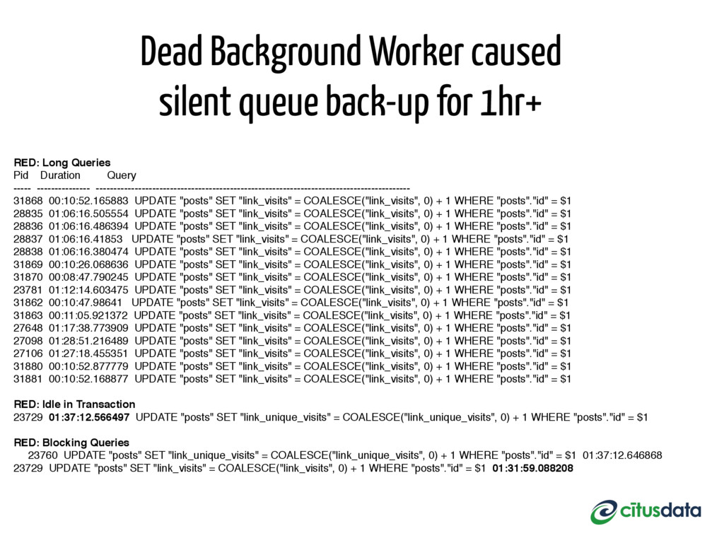 RED: Long Queries Pid Duration Query ----- ----...