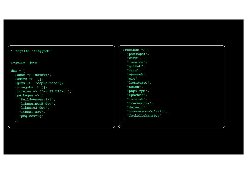 • require 'rubygems' require 'json' dna = { :us...