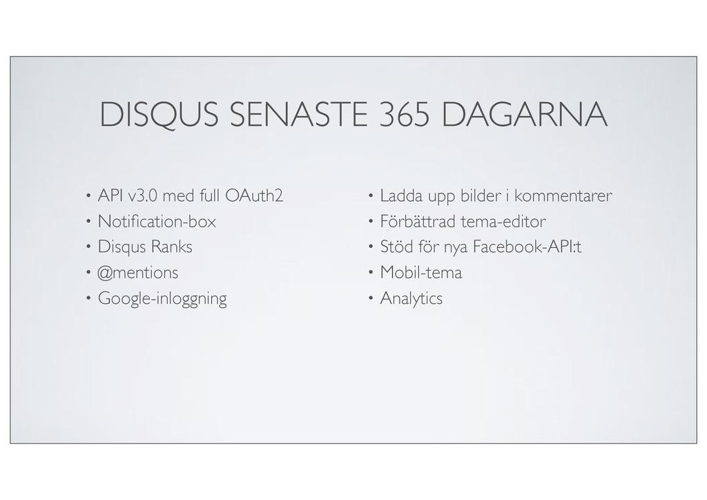 DISQUS SENASTE 365 DAGARNA • API v3.0 med full ...