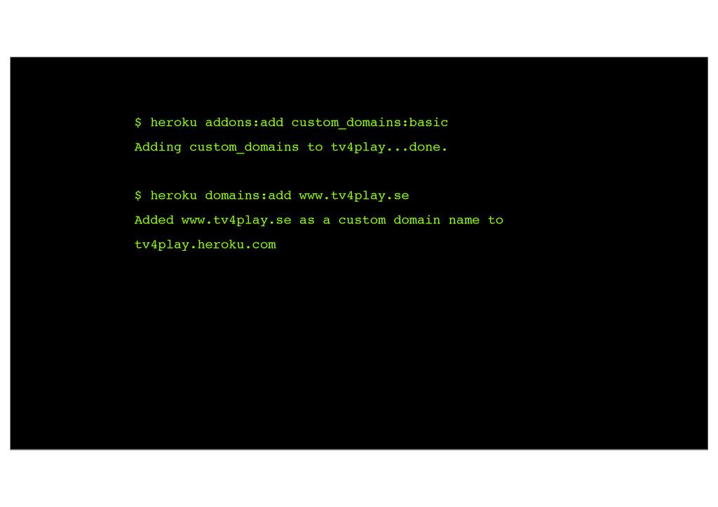 $ heroku addons:add custom_domains:basic Adding...