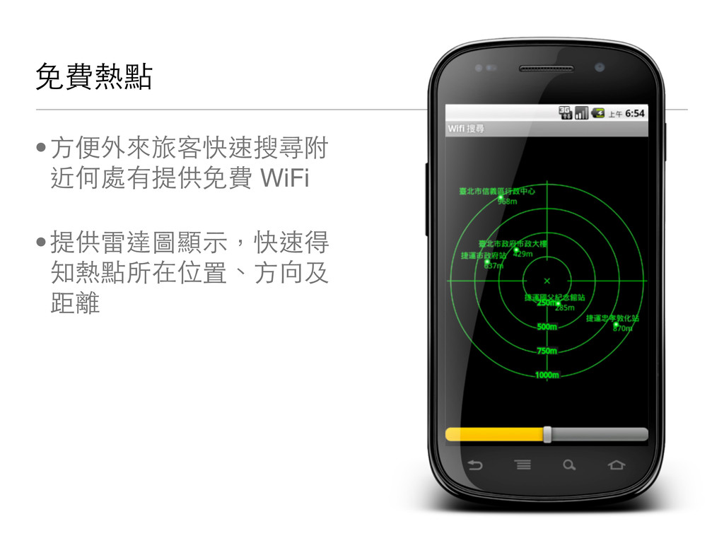 免費熱點 •方便外來旅客快速搜尋附 近何處有提供免費 WiFi •提供雷達圖顯示,快速得 知熱...