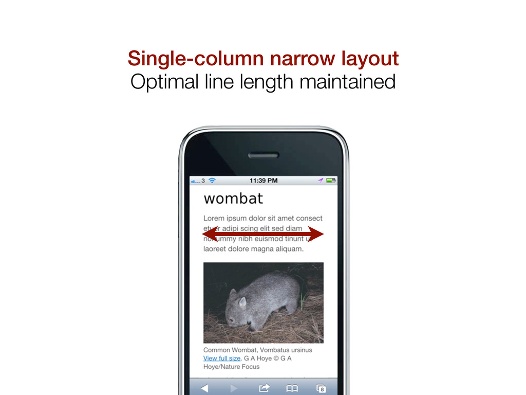 Single-column narrow layout Optimal line length...