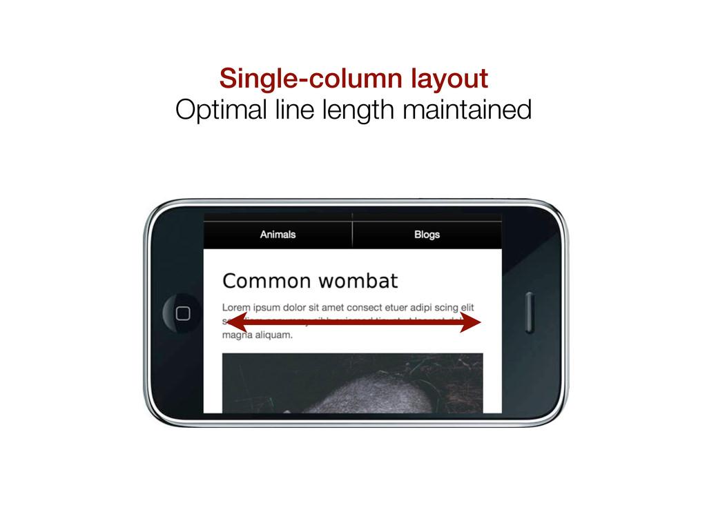 Single-column layout Optimal line length mainta...