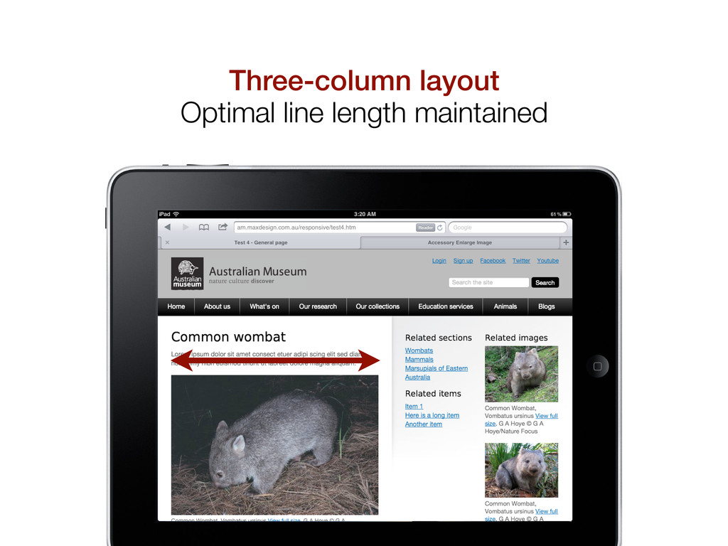 Three-column layout Optimal line length maintai...