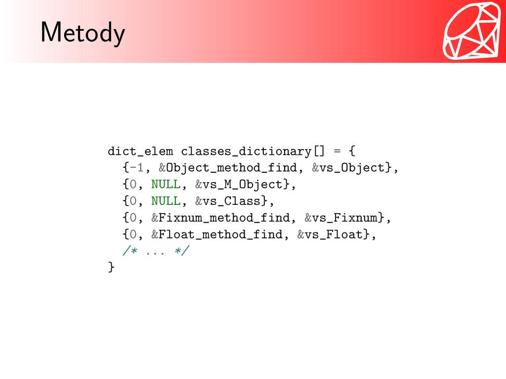 Metody dict_elem classes_dictionary[] = { {-1, ...