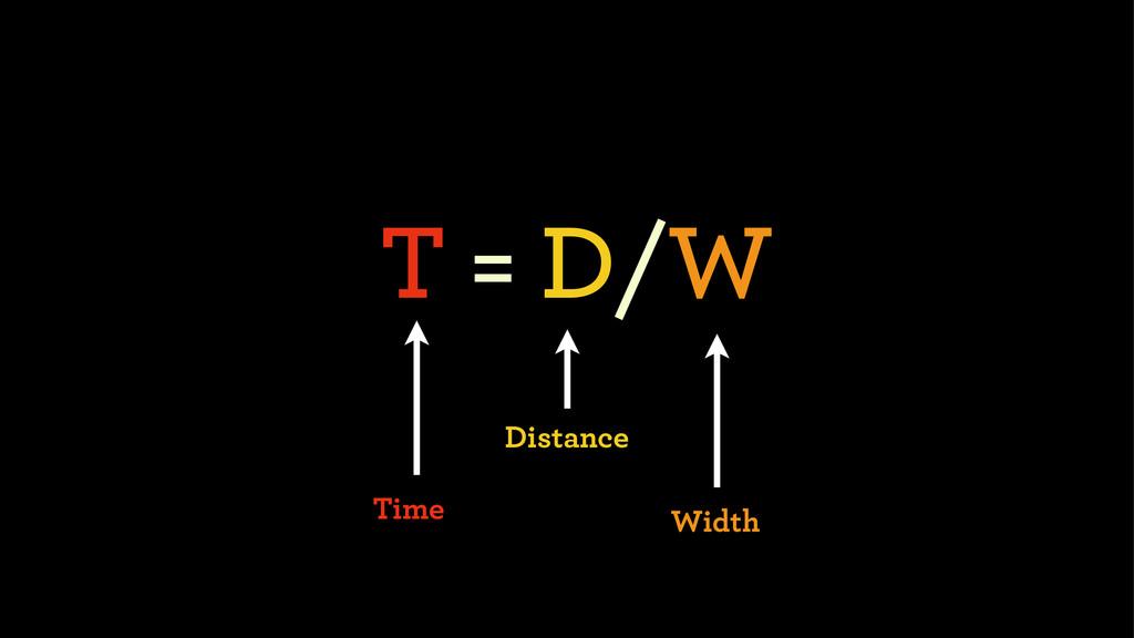 T = D/W Distance Width Time