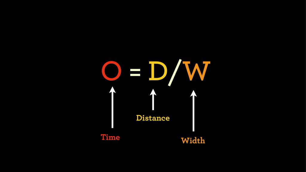 O = D/W Distance Width Time