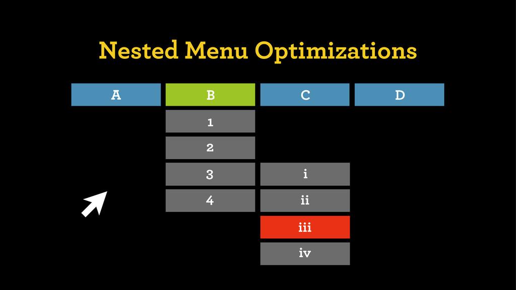 Nested Menu Optimizations A B C D 1 2 3 4 i ii ...