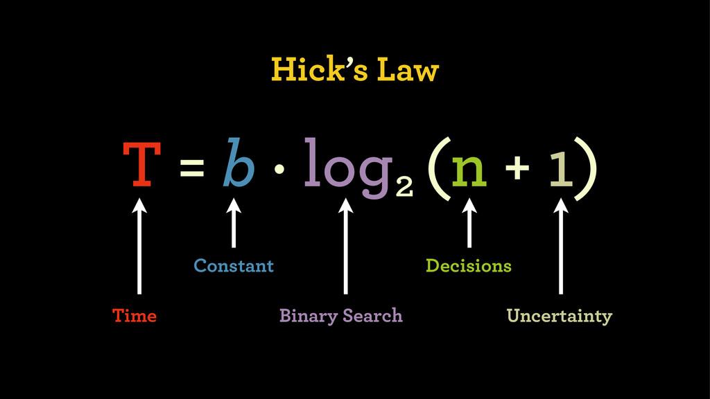 Hick's Law T = b · log (n + 1) 2 Constant Binar...