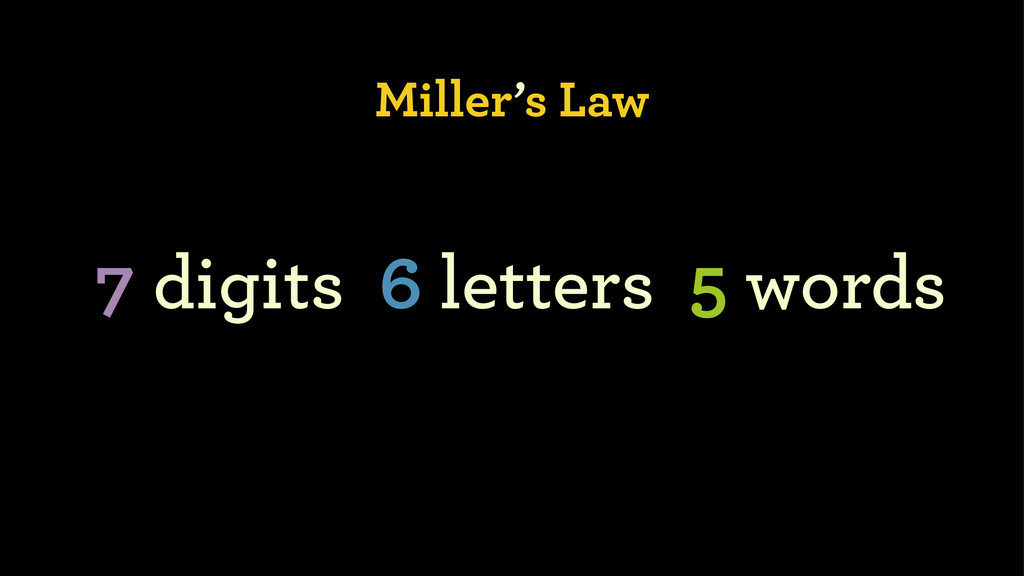 Miller's Law 7 digits 6 letters 5 words