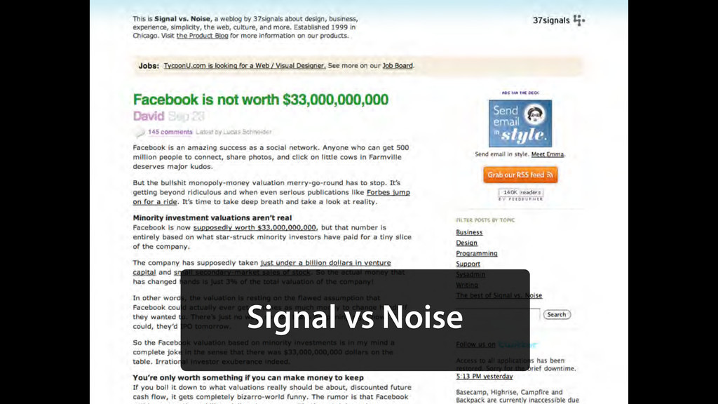 Signal vs Noise