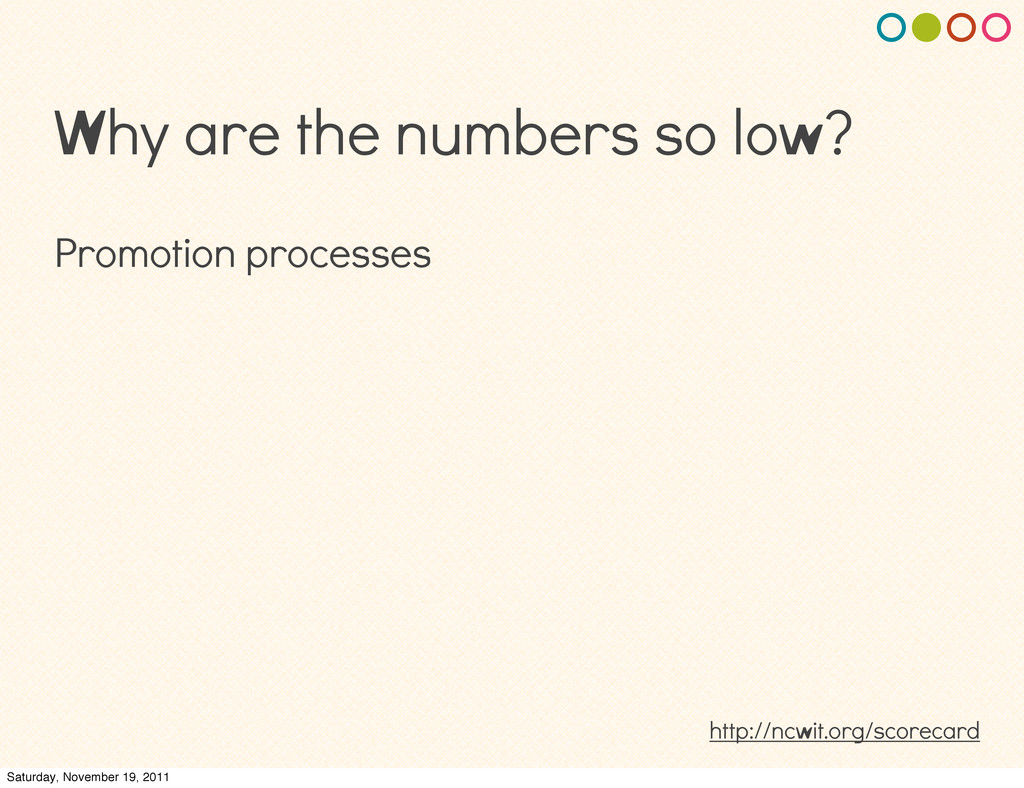 Why are the numbers so low? Promotion processes...