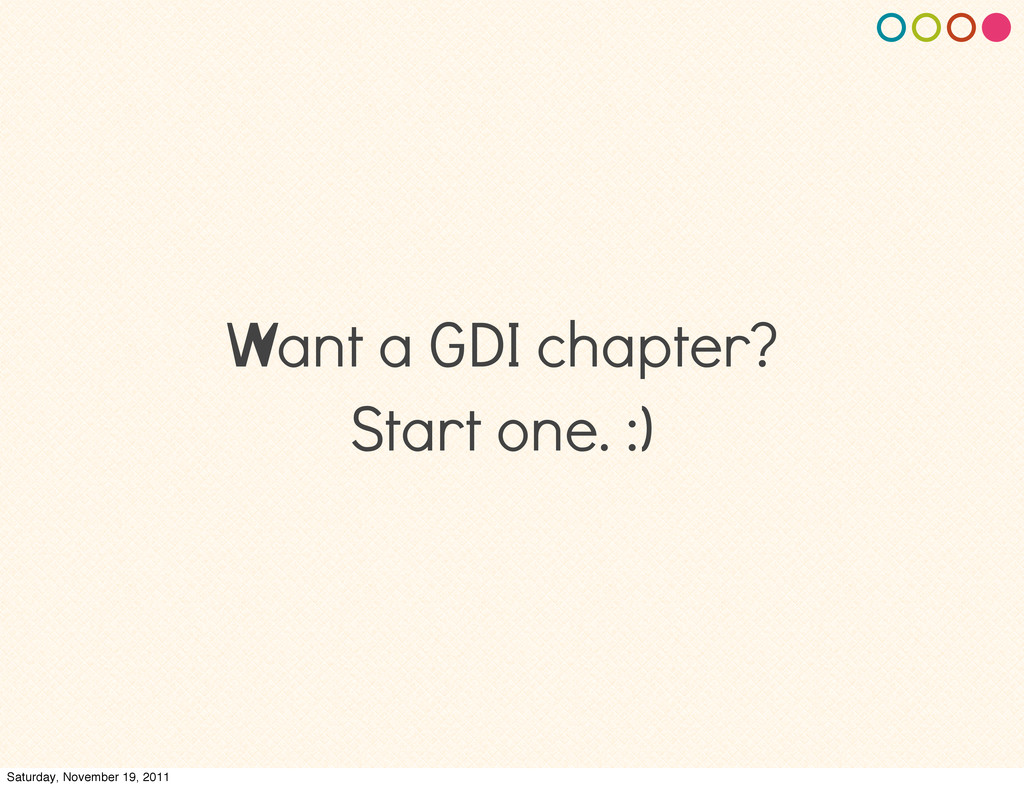 Want a GDI chapter? Start one. :) Saturday, Nov...